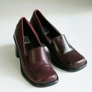 Vintage Burgundy Deep Red  Square Toe Stacked Heel